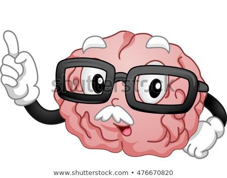 Mascotte vieux cerveau enseignement illustration classe Photo stock © lenm
