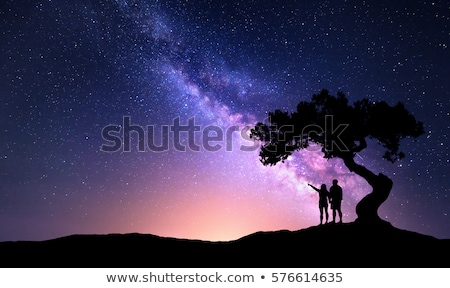 Milky Way and silhouette of woman under the tree Stock photo © denbelitsky