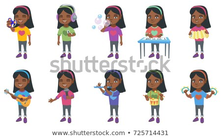 Meisje spelen accordeon glimlachend weinig Stockfoto © RAStudio