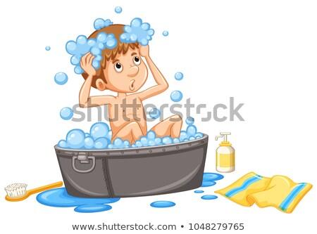 Nino toma bañera ilustración nino estudiante Foto stock © bluering