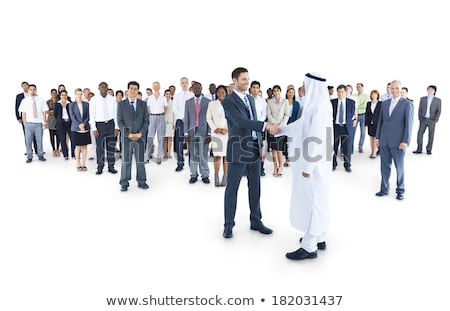 közel-keleti · üzletasszony · kaukázusi · férfi · kézfogás · iroda - stock fotó © monkey_business