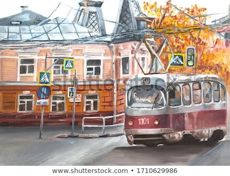 Czerwony starych tramwaj ulicy istanbul drogowego Zdjęcia stock © Givaga