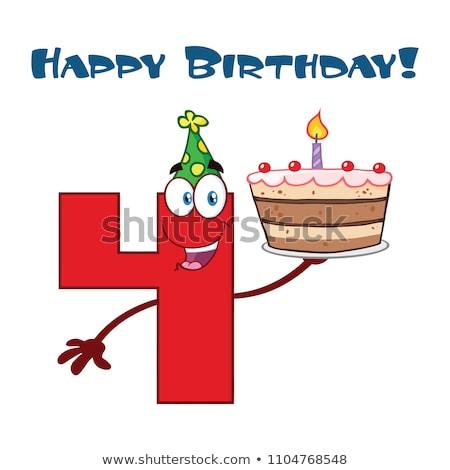 Drôle rouge nombre quatre mascotte dessinée personnage Photo stock © hittoon