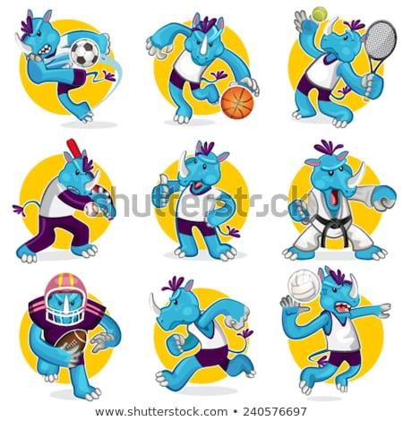 Rhino Baseball Ball Sports Mascot Stock photo © Krisdog