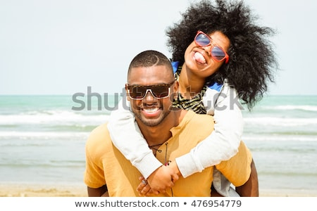 gülen · plaj · kız · gülümseme - stok fotoğraf © hannamonika