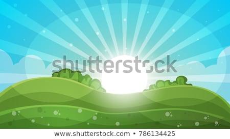 Cartoon landscape - abstract illustration. Sun, ray, glare, hill, cloud. Stock photo © rwgusev