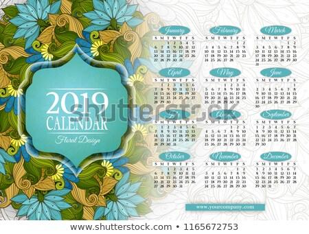 Színes év naptár négyszögletes sablon gyönyörű Stock fotó © lissantee