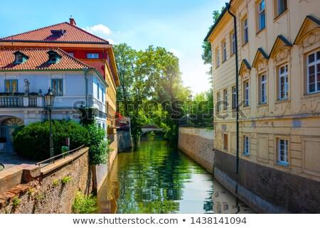 Praga · canal · água · roda · noite · ver - foto stock © givaga