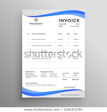 abstract blue wavy style invoice template Stock photo © SArts