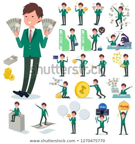 男子生徒 緑 ブレザー お金 セット ストックフォト © toyotoyo
