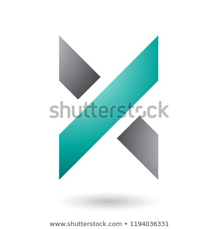 Grey and Green Thick Shaded Letter X Vector Illustration Stock photo © cidepix