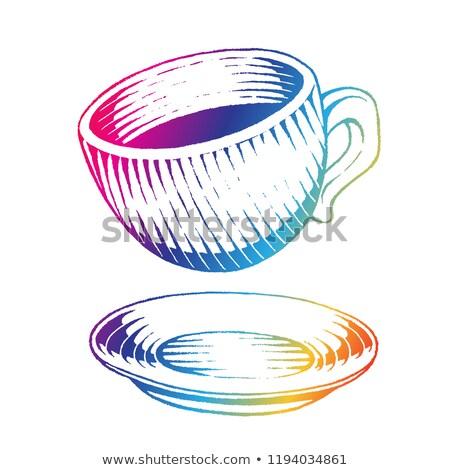 Foto d'archivio: Rainbow · colorato · inchiostro · sketch · tazza · di · caffè · illustrazione