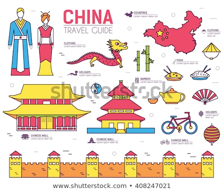 Country China travel vacation guide of goods, place and feature. Set of architecture, fashion, peopl Stock photo © Linetale