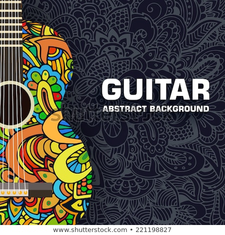 Abstract retro music guitar on the background of the ornament. Vector illustration concept design Stock photo © Linetale