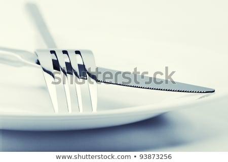 nóż · widelec · biały · tle · metal - zdjęcia stock © inxti