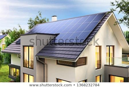 innovatív · ház · tető · fotovoltaikus · környezet · antenna - stock fotó © manfredxy