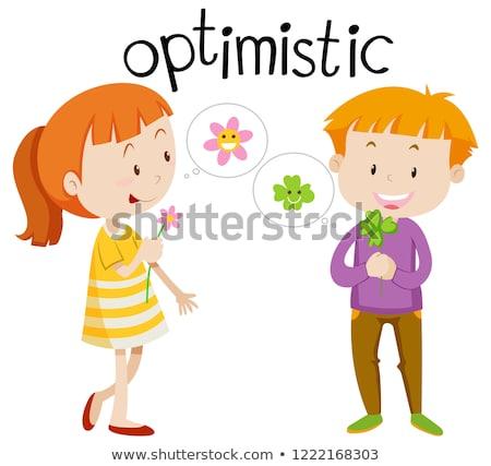 английский словарь слово оптимистичный иллюстрация книга Сток-фото © bluering