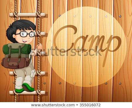 kinderen · klimmen · boord · illustratie · kind · achtergrond - stockfoto © colematt