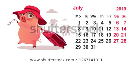 Calendar July 2019 pig gathered on vacation with suitcase Stock photo © orensila