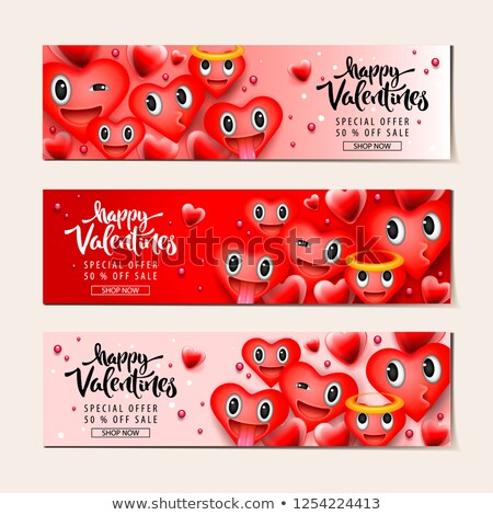 Valentine's day sale background with heart emoticons, emoji smiley faces, vector illustration. Stock photo © ikopylov