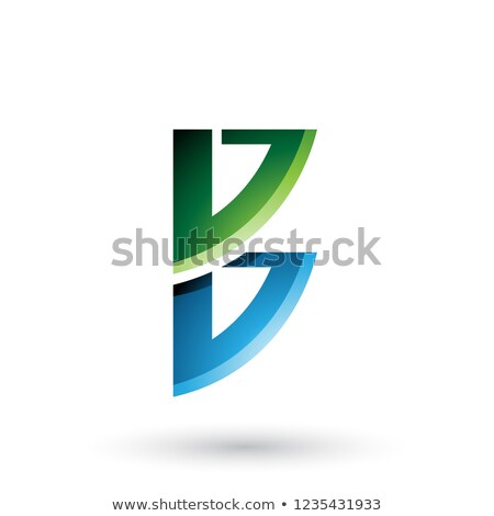 Green and Blue Bow Like Shape of Letter B Vector Illustration Stock photo © cidepix