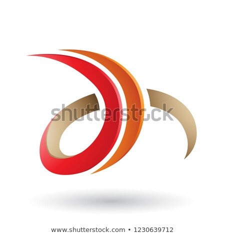 Red and Beige 3d Curly Letter D and H Vector Illustration Stock photo © cidepix