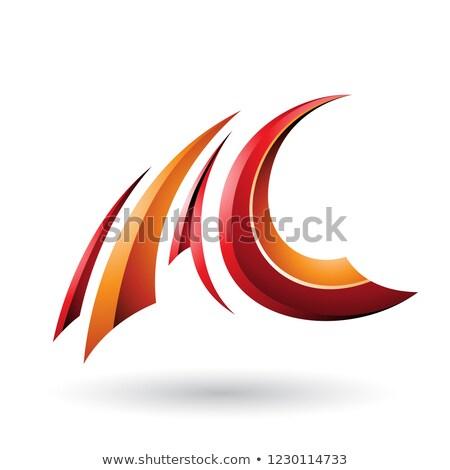 Vermelho laranja voador letra c vetor Foto stock © cidepix