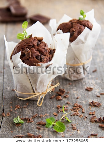 Chocolat muffins photographie vintage alimentaire papier Photo stock © Peteer