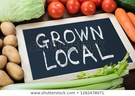 Foto stock: Crecido · local · texto · verduras · frescas · alimentos