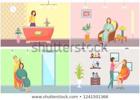 spa salon receptionist hair styling service vector stock photo © robuart