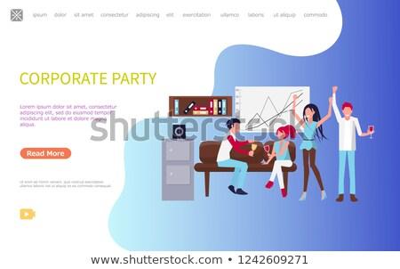Stockfoto: Mannen · vrouwen · corporate · partij · vector · vrolijk
