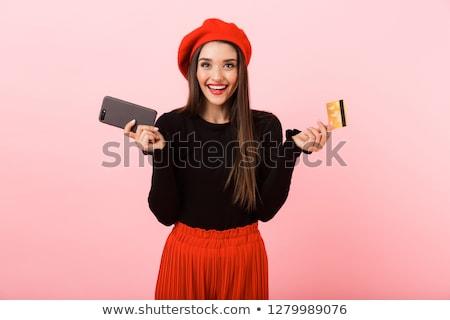Portré izgatott fiatal nő visel svájcisapka áll Stock fotó © deandrobot