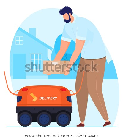Robot Delivering Packages To Man Vector. Isolated Illustration Stock photo © pikepicture