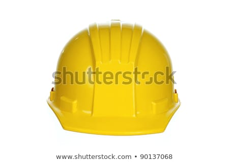 férfi · visel · védősisak · izolált · fehér · férfi · fehér - stock fotó © elnur