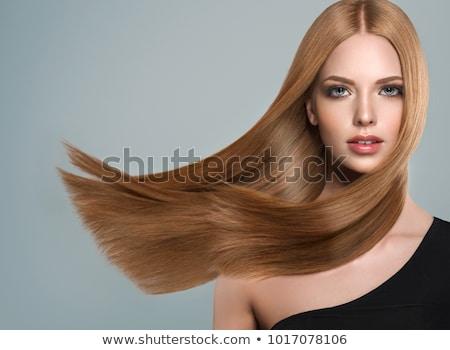 Bella elegante donna lungo capelli lisci primo piano Foto d'archivio © doodko