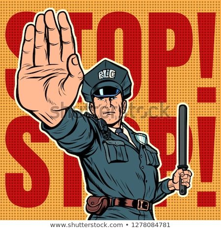 Komisarz stop gest biały pop art Zdjęcia stock © studiostoks
