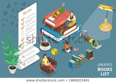 Stock fotó: Izometrikus · vektor · olvas · kedvenc · könyv · oktatás