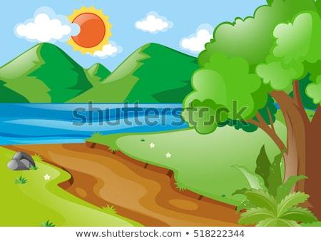 Natureza cena caminhadas seguir lago ilustração Foto stock © colematt