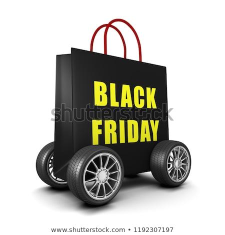 Fekete bevásárlószatyor kerekek black friday szöveg citromsárga Stock fotó © make