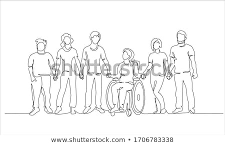 инвалидов девушки рисунок друзей коляске детский сад Сток-фото © ayelet_keshet