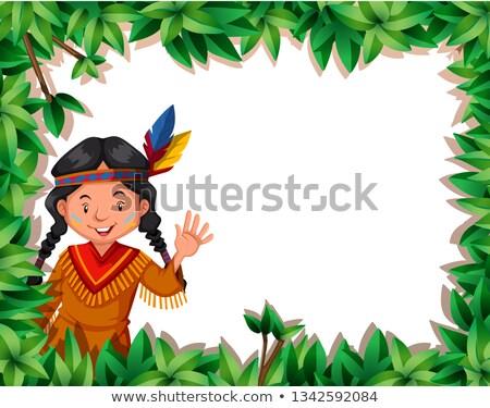 őslakos lány természet keret illusztráció levél Stock fotó © bluering