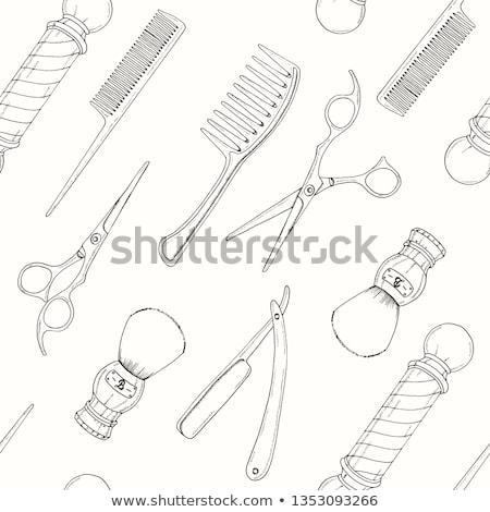 Barber with scissors and comb in hands Stock photo © colematt