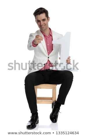 Mosolyog ülő elegáns férfi választ legelső Stock fotó © feedough