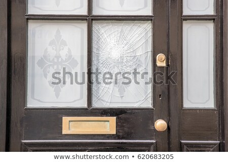 木製 ドア 割れたガラス 実例 建物 背景 ストックフォト © colematt