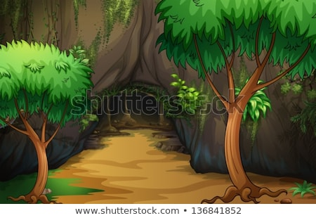 Stone Cave in the Dark Forest Stock photo © colematt