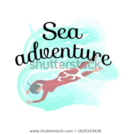 Sea Adventure, Man Wearing Swimsuit Diving, Human Stock photo © robuart