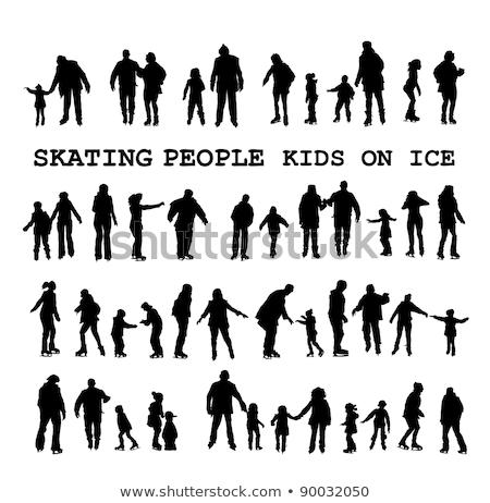 Hockey Training and Skating on Ice Rink People Stockfoto © robuart