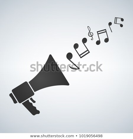 loudspeaker with melody notes icon vector, stock vector illustration flat design style. Stock photo © kyryloff