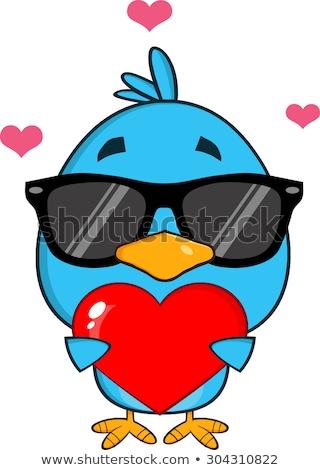 Cute Blue Bird With Sunglasses Cartoon Character Holding A Love Heart Stock photo © hittoon