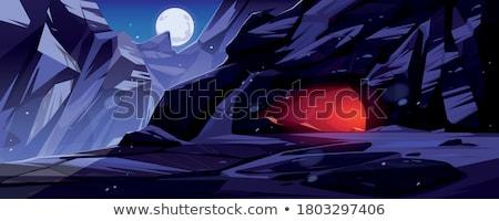 éjszaka idő barlang jelenet illusztráció fű Stock fotó © bluering